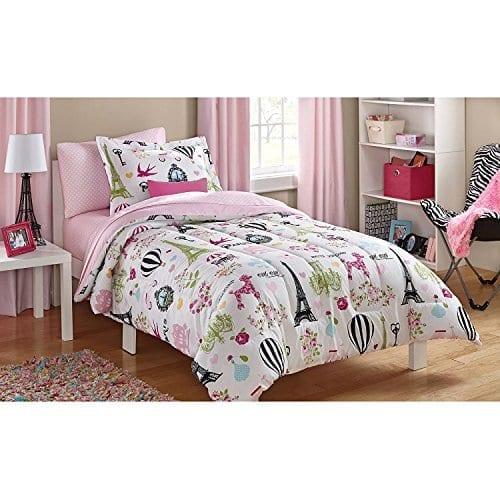 5pc Girls Pink I Love Paris Comforter Twin Set Sheets