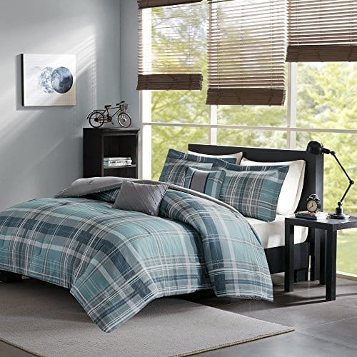 3 Piece Grey Teal Blue Green Madras Plaid Quilt Full Queen