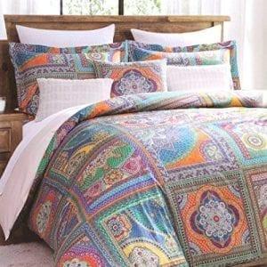 vintage scarf blue mandala tapestry duvet quilt cover modern bohemian patchwork bedding set by envogue aquamarine navy teal indian damask medallion paisley
